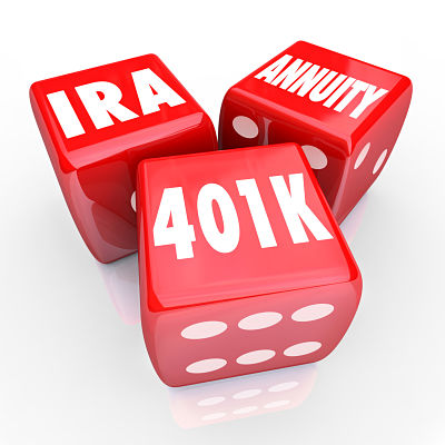 401K IRA and Annuity words on three red dice to illustrate risk