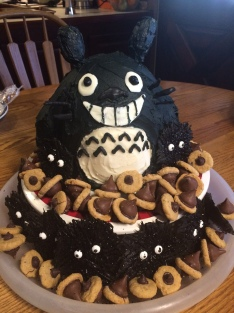 Totoro Cake with Soots and Acorns