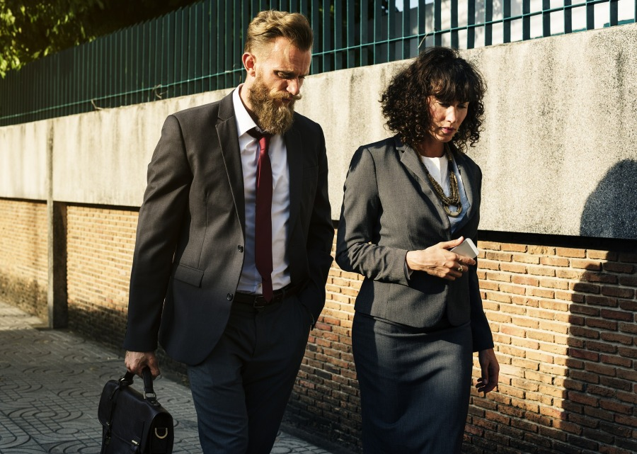 Men and women traveling for work