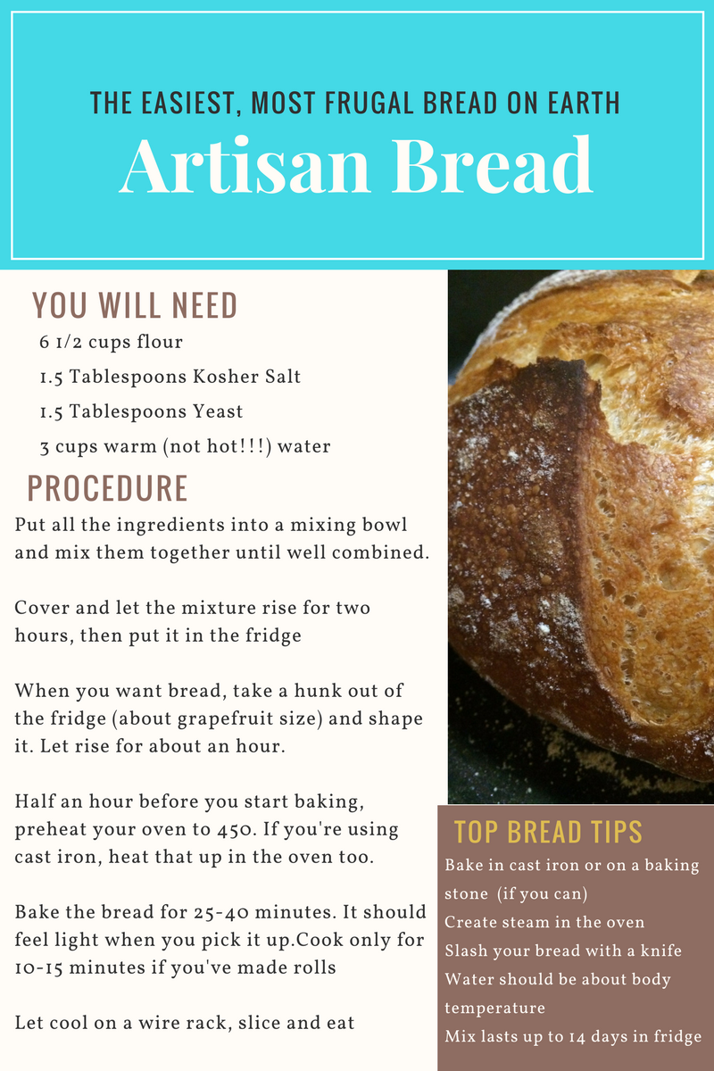 The Easiest Most Frugal Bread On Earth Four Ingredient No Knead Artisan Bread